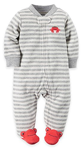Carter's Baby Boys' Striped Terry Cloth Sleep and Play (3 Month, Crab)