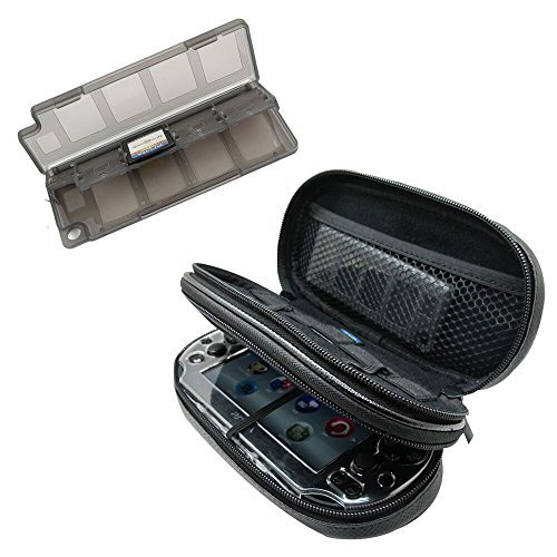 Khanka All-in-one Double Compartment Carry Travel Case Bag + Gray Game/Memory Card hard Case For Psvita PS Vita 1000 and PSVita Slim (PSV 2000), fits Charger cable/Game Cards (Ps Vita 2000 Case compare prices)