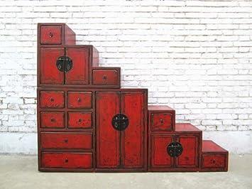 China largeur des escaliers commode rouge-brun, de nombreux tiroirs schraegen côtés amovibles