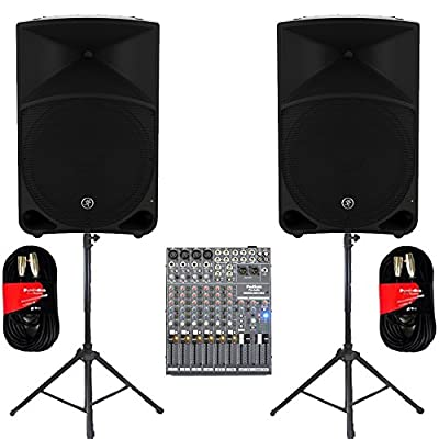 "Mackie THUMP15 Powered 15"" Loudspeaker Pair 2000 Watt Bi-Amped with Mixer Stands and Cables THUMP15SET5 by Mackie"
