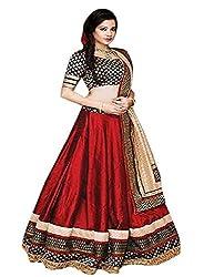 Pramukh Group Maroon Banglory silk Nett Wedding Style Lehenga Choli