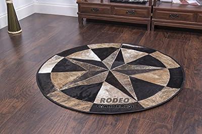 Handmade patchwork Star Rodeo Smoky Black Cowhide Rug