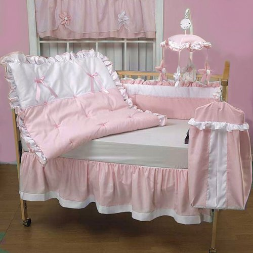 Baby Doll Bedding Regal Pique Crib Bedding Set, Pink front-760284