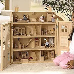 Wooden Dolls House With 100 Pieces Furniture Toys Games