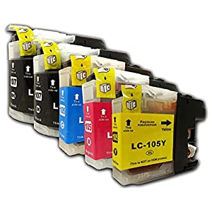 5 Packs Compatible Brother LC107 & LC105 (2 LC-107BK + 1 LC-105C + 1 LC-105M + 1 LC-105Y) Black Cyan Magenta Yellow Ink Cartridges for DCP-J4110DW MFC-J4410DW MFC-J4510DW MFC-J4610DW MFC-J4710DW MFC-J4310DW © YoYoInk