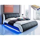 Polsterbett schwarz Bett 180x200 + Lattenrost + Matratze + LED-Beleuchtung Doppelbett Designerbett Lugota