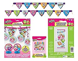 Shopkins Deluxe Birthday Party Decorating Bundle ~ Banners, Candles, Door Poster and More! by Unique