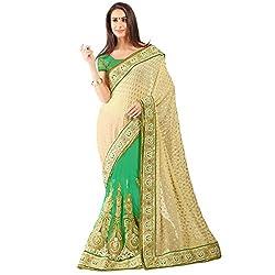 Cream and Green Wiscose Jacqard Designer Lehenga Saree