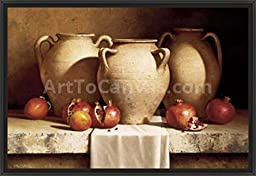 38in x 26in Urns with Persimmons & Pomegranates by Loran Speck - Black Floater Framed Canvas w/ BRUSHSTROKES