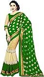 WXW Fashion Premium Green & Beige Georgette Printed Saree