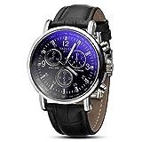 2 色 メンズ クロノグラフ 腕 時計 高級 レザー 革 ベルト ビジネス ウォッチ シンプル スーツ 軽量 (ブラック&ブラック)