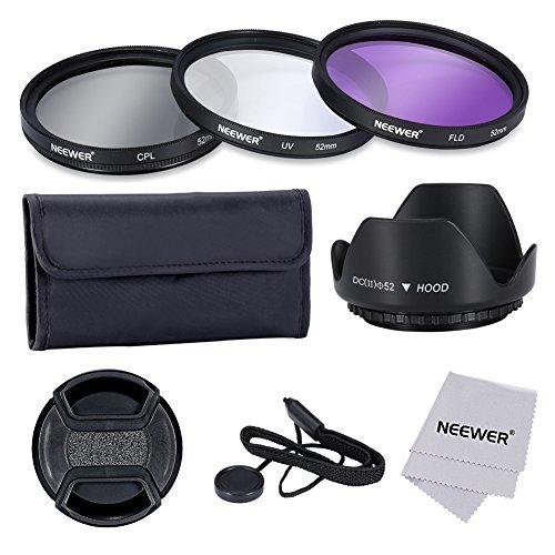 Neewer ® professionale 52 millimetri lente filtro Kit di accessori per Canon EOS 400D / Xti; 450D / Xsi; 1000D / XS; 500 d/T1i; 550D / T2i; 600 d/T3i; d 650/T4i; d 700/T5i; 100D; 1100D; Nikon Sony Samsung Fujifilm Pentax e altri obiettivi per reflex digitale con filo filtro 52MM - include (UV, CPL, FLD) Kit filtro + borsa da trasporto filtro + fiore parasol del centro Tulip pizzico Cap con cinturino Cap Keeper + panno di pulizia in microfibra