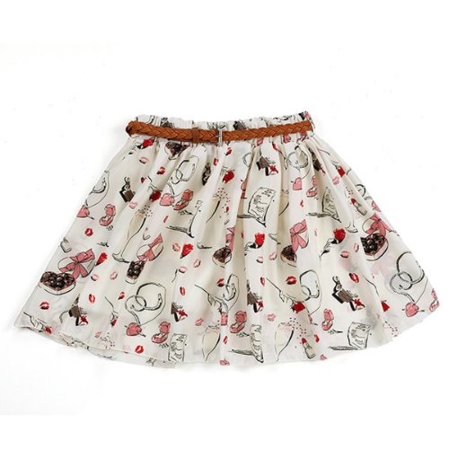 Women Summer Floral Pleated Chiffon Shorts Mini Skirt Dress Belt Cosmetic Size 8-12/S-M