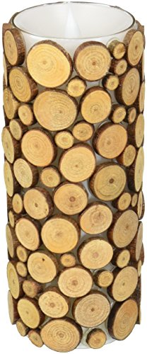 simplux Moving Wick Wood Pattern Mosaic Flameless LED Candle with Timer, 3 x 6