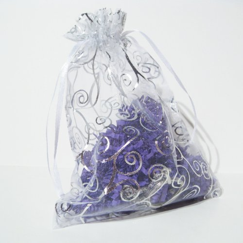 50 Organza Gift Bags (White with Silver Details)