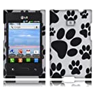 Fincibo (TM) LG Optimus Logic L35g Dynamic L38c Snap On Hard Protector Cover Case - Dog Paws
