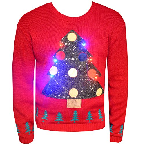 New-Unisex-Light-Up-Christmas-Jumper-Mens-Womens-Xmas-Tree-LED-Novelty-Sweater-Knitwear-Festive-Top-Size-SM-XXL