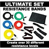 Advanced Resistance Bands Set 11 pieces - Fitness Exercise Cords Tubes - YOGA, PILATES, ABS, P90X WORKOUT