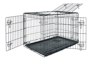 Allmax 3-Door Folding Metal Dog Crate with ABS Tray, Small, Black