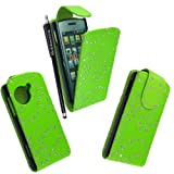 MOBILEEXTRALTD® For LG Viewty Snap Gm360 Green Diamond Sparkly Pouch PU Leather Magnetic Protected Flip Case Cover + Free Stylus