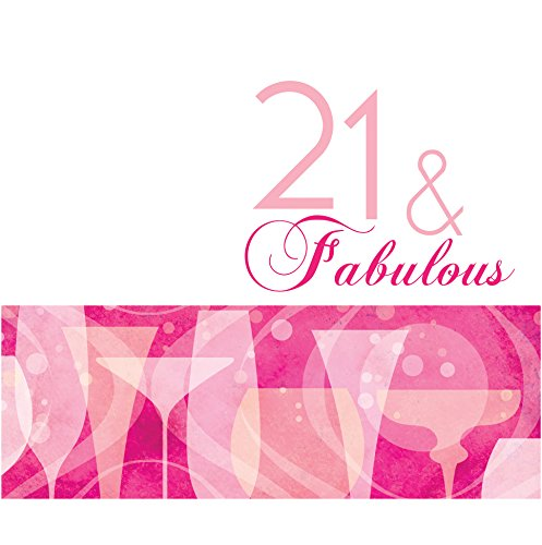 Creative Converting 16 Count 3 Ply 21st Fabulous Birthday Lunch Napkins, Pink