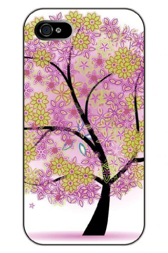Sprawl Stylish Unique Design Purple Green Floral Pattern Hard Plastic Snap On Iphone 4S Case Tree Of Life front-407040