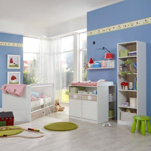 Babyzimmer 7-tlg »BAMO166« Eiche sägerau - alpinweiß