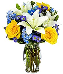 From You Flowers - Bright Blue Skies Flower Bouquet (Free Vase Included)