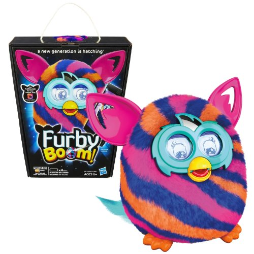 Hasbro Year 2013 Furby Boom Series 5 Inch Tall Electronic App Plush Toy Figure – Blue, Pink and Orange Diagonal Pattern FURBY