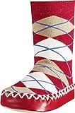 Playshoes Hüttenschuh Karo - Calcetines Altos Niñas, color rojo, talla 17 (Talla fabricante: 17/18)