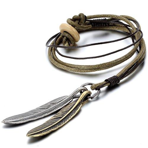 Jewelrywe Gioielli Collana con Pendente da Uomo Donna, Ciondolo, Catenina Pelle, Feather Piuma Retro, Argento (con Borsa Regalo)