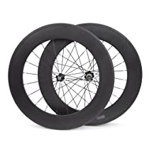 Baixiang 700c 88mm Carbon Fiber Road Bike Clincher Wheels Bicycle Wheelset for Shimano