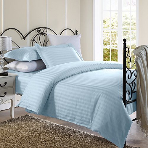 Best Buy! Ellington Home 1800 Series 3 Piece Damask Stripe Duvet Cover Set (Full/Queen, Light Blue)