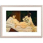 エドゥアール・マネ Edouard Manet「オランピア」 インテリア アート 絵画 プリント 額装作品 フレーム:装飾(銀) サイズ:M (306mm X 397mm)