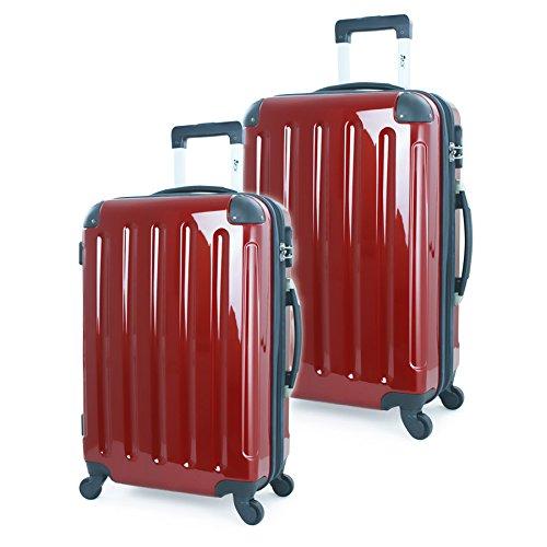 2-tlg-Hartschalen-Kofferset-Trolley-Koffer-Reisekoffer-7565-cm-11070-Liter-ROT-HOCHGLANZ-4-Rollen-von-XAVION-7260