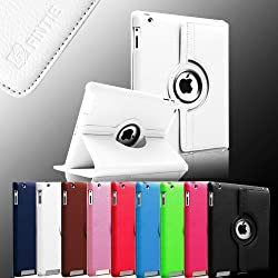 FINTIE (White) 360 Degree Rotating Stand Smart Cover PU Leather Case for Apple iPad 4th Generation Retina Display / the new iPad 3 / iPad 2 (Wake/sleep Function)