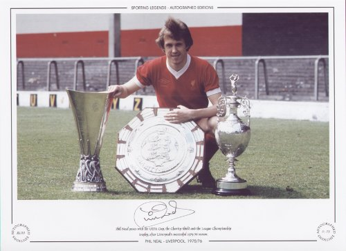 Phil Neal Liverpool poses with trophies 1975/76 – Signed Limited Edition