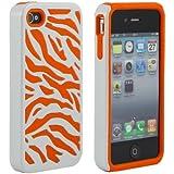 Zebra Silicone and PC Hard Case for Apple iPhone 4/4S/4G - Orange/White