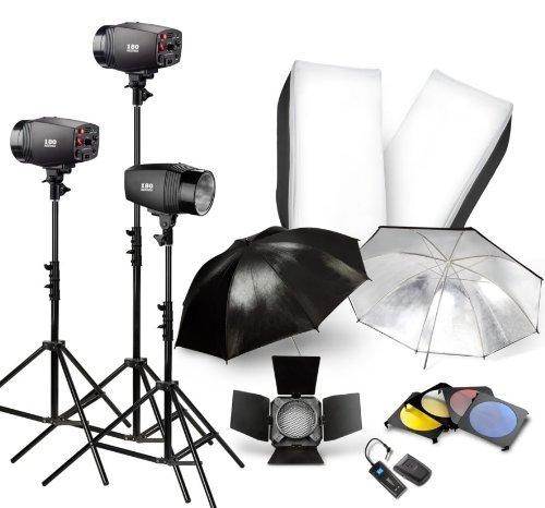 NEEWER 540W Studio Flash Lighting Kit Softbox Barndoor TRIGGER
