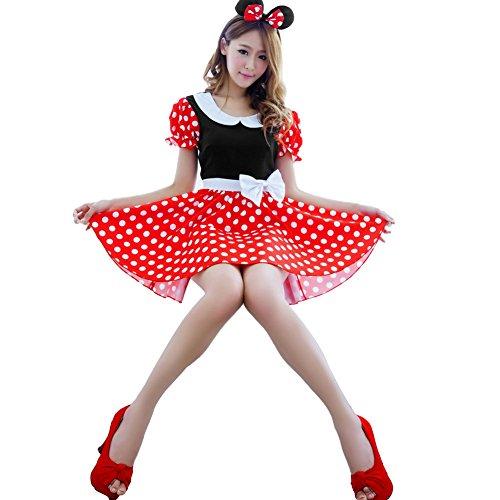Vktechかわいい!ディズニー ミニーコスプレ衣装セット 耳の頭飾り付き ワンピース コスチューム 仮装 パーティー 忘年会 学園祭