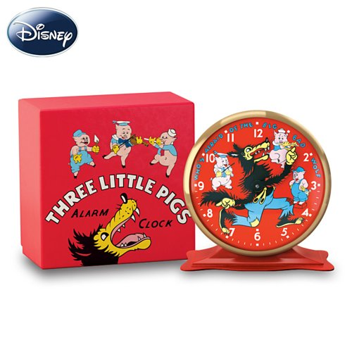 Disney Who's Afraid Of The Big Bad Wolf? Tabletop Clock by The Bradford Exchange