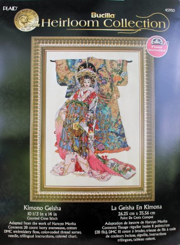 Bucilla Heirloom Counted Cross Stitch Kimono Geisha Kit, 10.5-Inch By 14-Inch front-928644