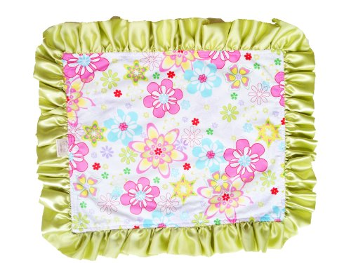 Patricia Ann Designs Satin Travel Silkie with Ruffled Trim, Star Flower Burst with Green Apple