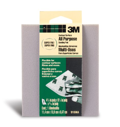 3M Contour Surface Sanding Sponge, Super Fine, 4.5-Inch by 5.5-Inch by