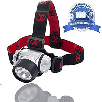 LED Hands-free Headlamp By Mhil Battery Powered Flashlight / Headlight Great for Camping, Hiking, Working in the Dark, Using Without Hands Adjustable 3-way Light & Adjustable Head Strap
