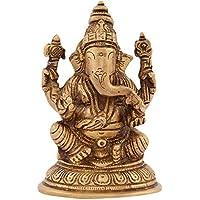 Kapasi Handicrafts Brass Lord Ganesha Idol Statues - (7.96 X 6.12 X 12.25 Cm, Gold, AIN005374)