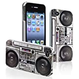 eForCity Snap-on Rubber Coated Case Compatible with Apple® iPhone® 4 / 4S, New Cool Retro Old Player / Recorder Pattern