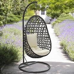 Yopih - Poltrona a dondolo sospesa, con cuscino, a forma di bozzolo, per esterno, giardino e patio, da appendere, in rattan di vimini intrecciati
