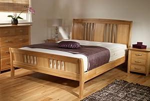 new oak sleigh double bed frame only light wood kitchen home. Black Bedroom Furniture Sets. Home Design Ideas