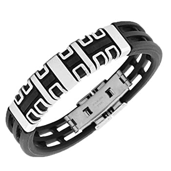 Stainless Steel Black Rubber Silver Tone Mens Bangle Bracelet with Clasp